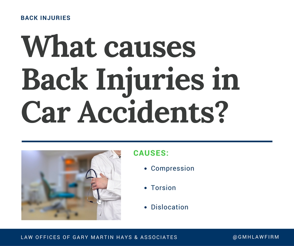What causes back injuries in car accidents?